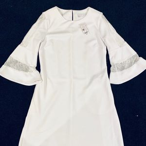 NWT NY&Co White Dress with Ruffled Bell Sleeves